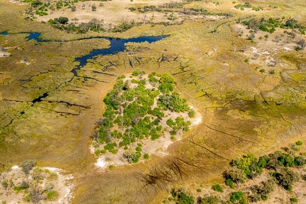 Afrika Erfahren, Botswana, Mietwagen, Okavango Delta Luftbild