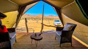 Namibia Rundreise Corona, Twyfelfontein Adventure Camp, Zelt